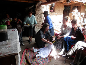 Students in a peruvian home