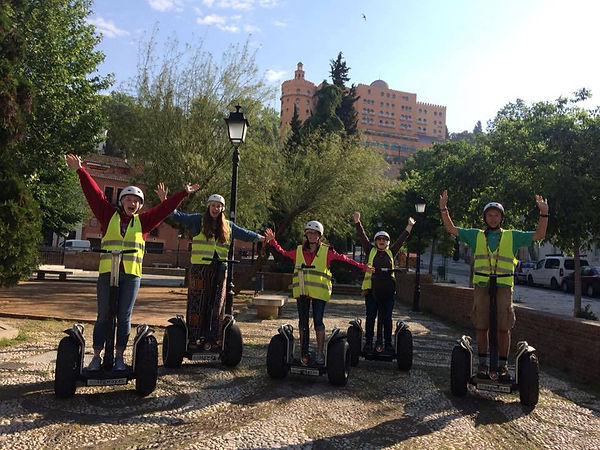 Students on segways in safety gear