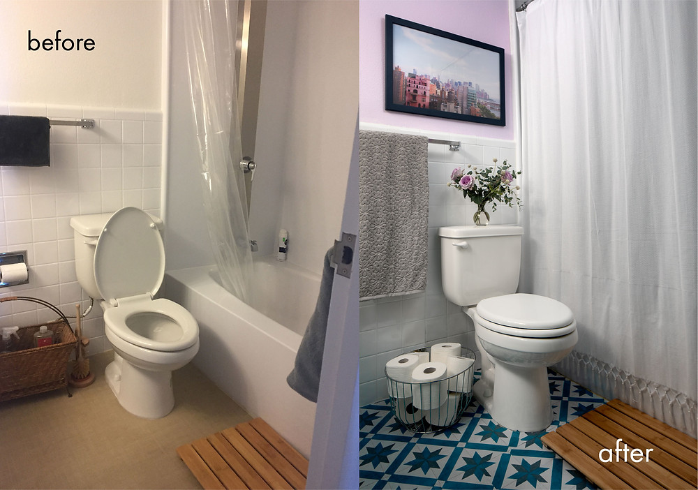 before-and-after-renter-friendly-interior-design-bathroom-makeover-transformation-upgrade