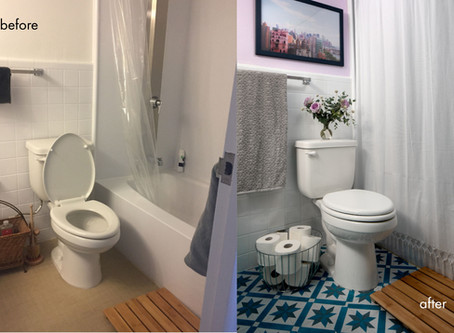 Before and After: A Colorful Rental-Friendly Bathroom Makeover