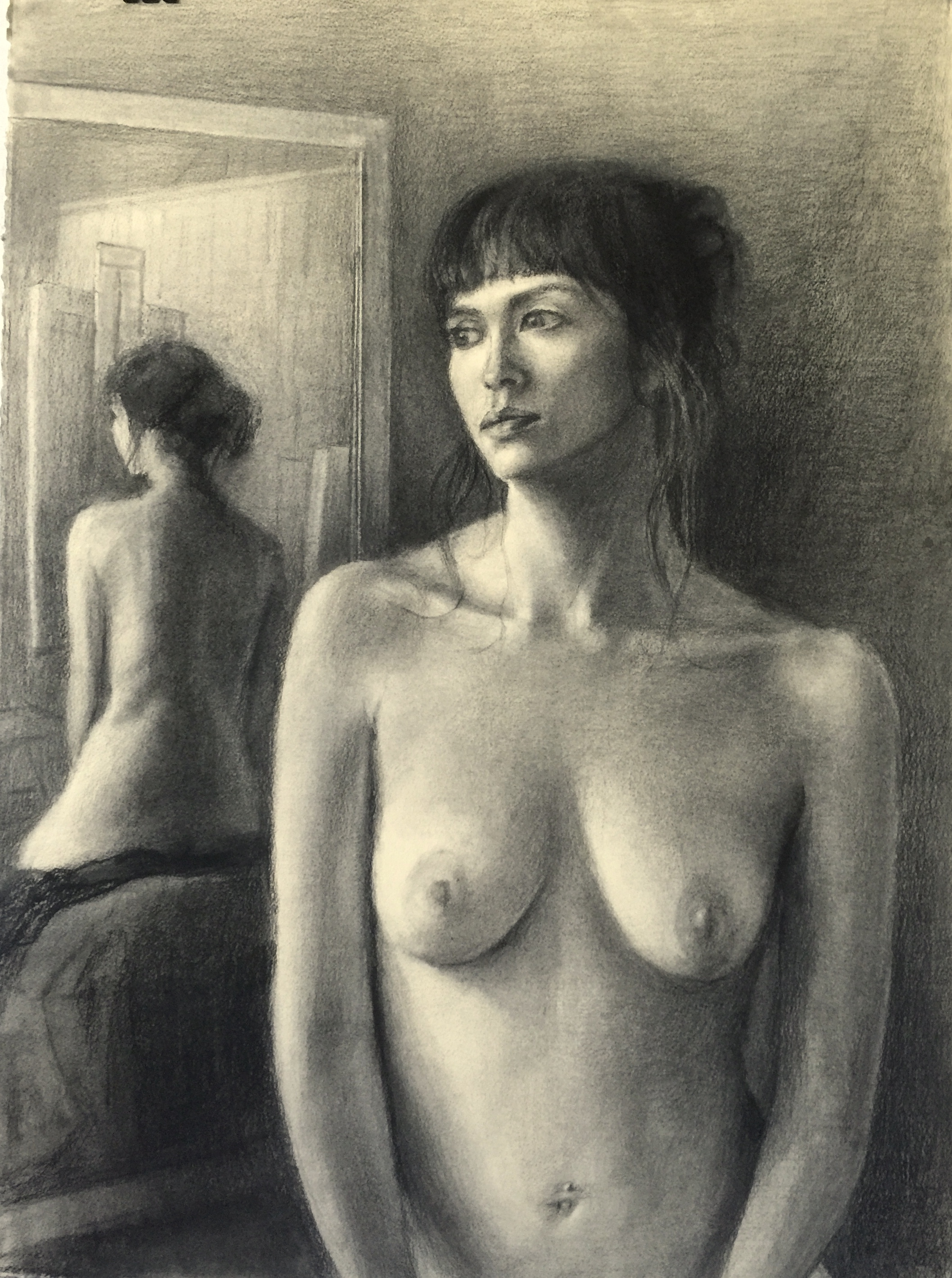 Charcoal Nude and Mirro Reflection