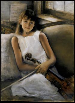 Alex in White Dress and Violin