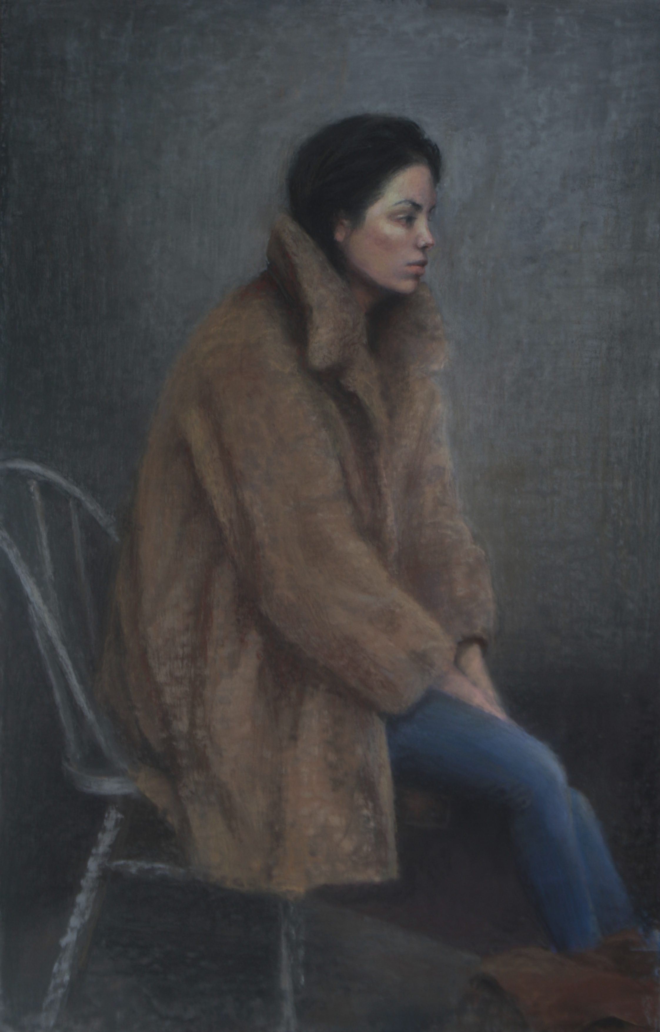 Young Lady with Jeans and Fur Coat