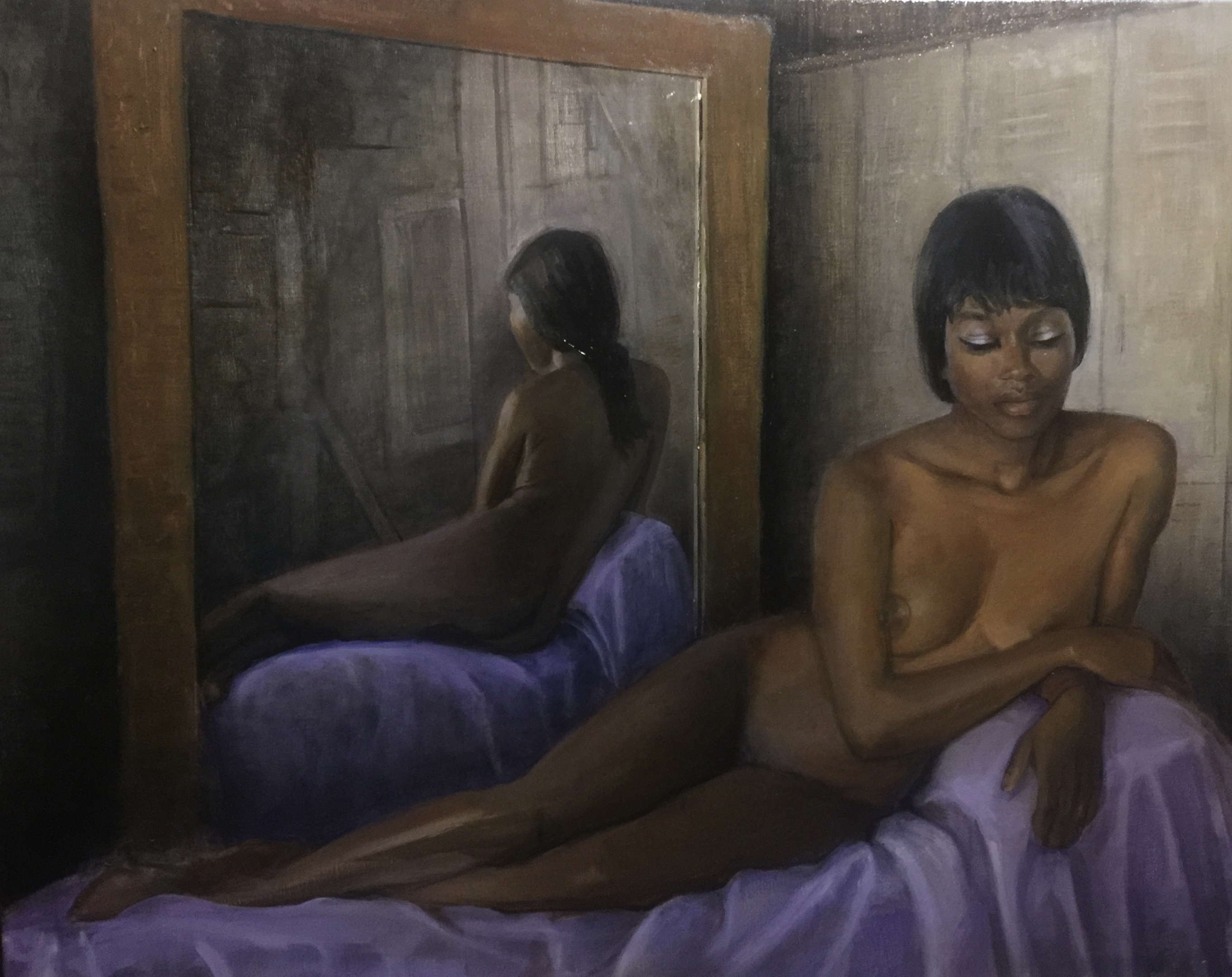 Ebony Venus and Mirror Reflection