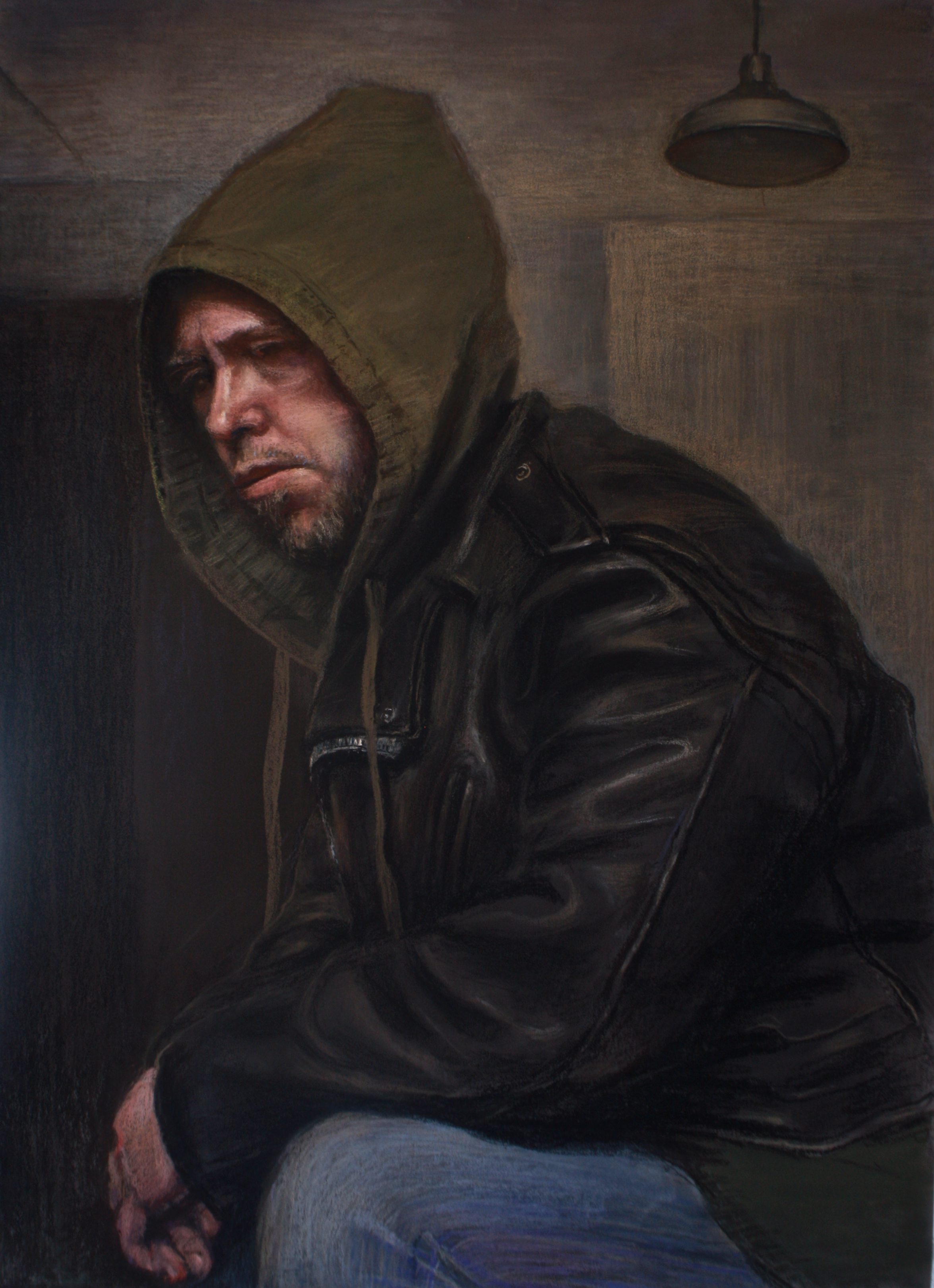 Man with Hoodie and Leather Jacket