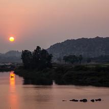 Sunset across the Tungabhadra river