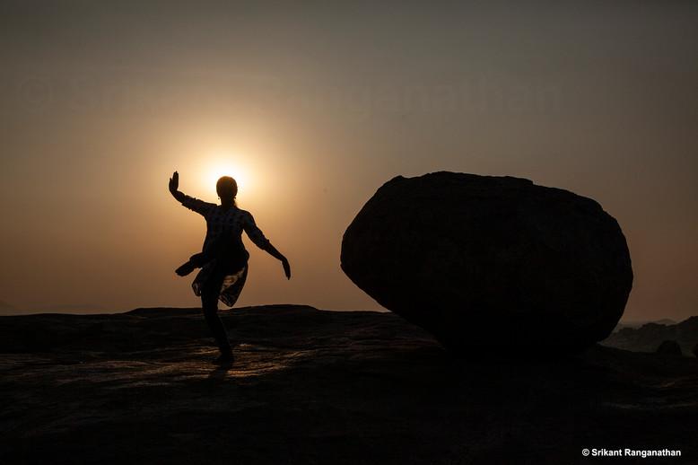 A Bharatanatyam pose at Sunset