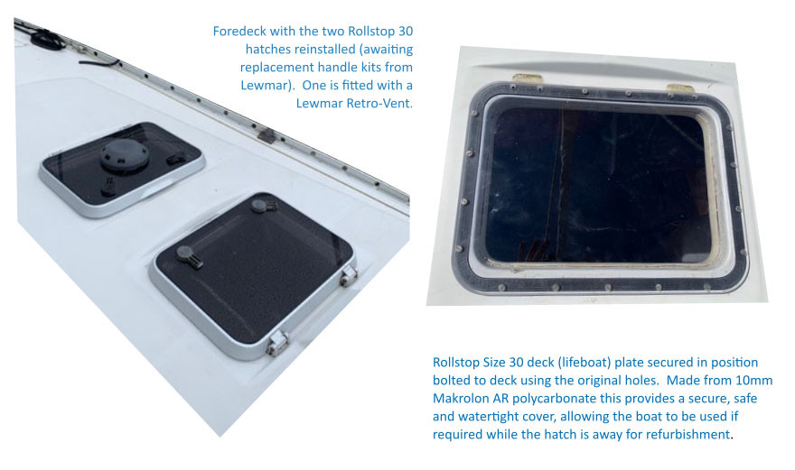 Two refurbished Lewmar Rollstop 30 hatches along with the temporary lid provided by Eagle Boat Windows.