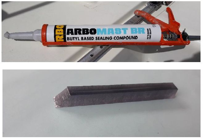 380ml tube of ARBOmast BR bedding compound and an acrylic scraper, both supplied by Eagle Boat Windows.