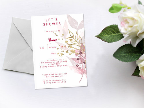 Golden Pink Invitation