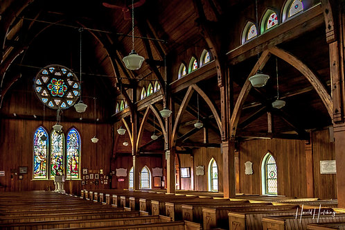 """""""Stained Glass And Wood Beams"""" 12"""" x 18"""" Print"""
