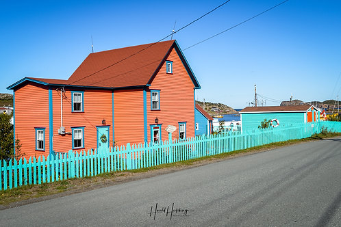 """""""Colourful Houses and Picket Fences"""" 12""""x 18"""" print"""