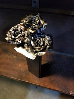 Hand Forged Roses and Vase