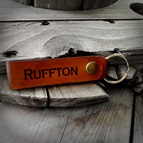 """Ruffton"" Leather Keychain"
