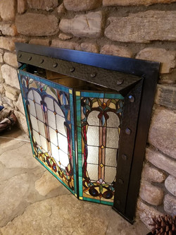 Custom Hand Forged Textured Fireplace Frame