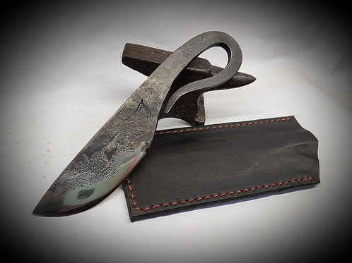 Hand Forged Blacksmith Knife with Leather Sleeve