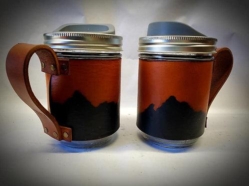 Mason Jar Coffee Mug with Leather Sleeve