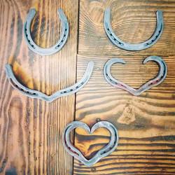 Progression of making a horseshoe heart