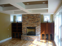 Fireplace with ceiling detail