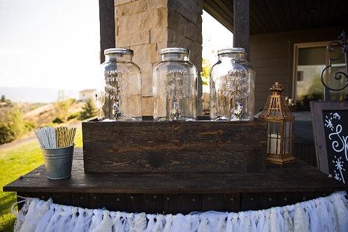 Dark Wood Base 3 Mason Beverage Dispensers
