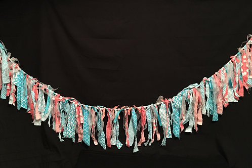 Aqua/Pink Shabby Chic Fabric Banner