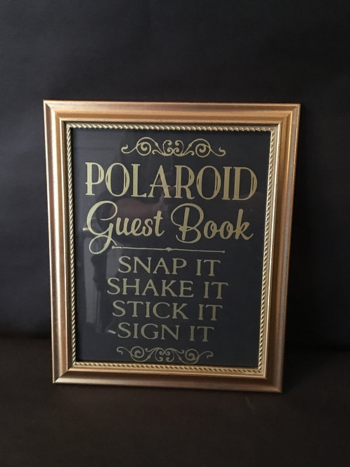 "8"" x 10"" Gold Frame Polaroid Guestbook Sign"