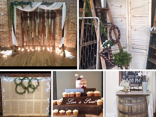Arch/Shutters/Ladder/Cupcake Stand/ Send Off Barrel Table and Sign