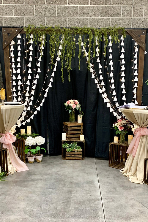 White Petticoat Backdrop w/Moss