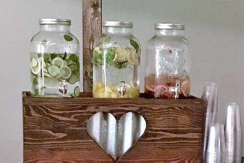 Galvanized Heart Beverage Base w/3 Beverage Dispensers