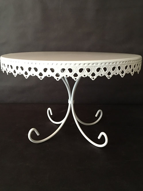 Scalloped White Metal Cake Stand