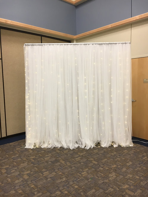 Netting Fairy Light Greenery Dbl Panel Pipe & Drape