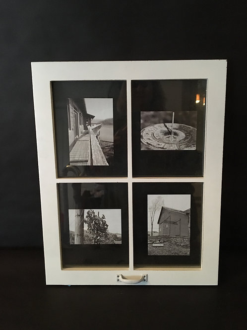 White Farmhouse 4 Pane Photo Holder