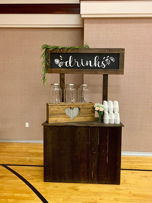 """Drinks"" Lemonade Station w/Beverage Dispensers and Food Riser for Cups"