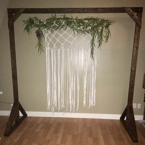 Handmade Timber Arch w/Branch covered in Greenery and Handmade White Macrome
