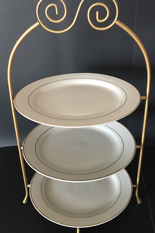3 Tier Gold Cake Stand w/Plates