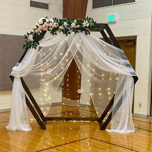 Hexagon Arch with Drapes/Floral and Lights