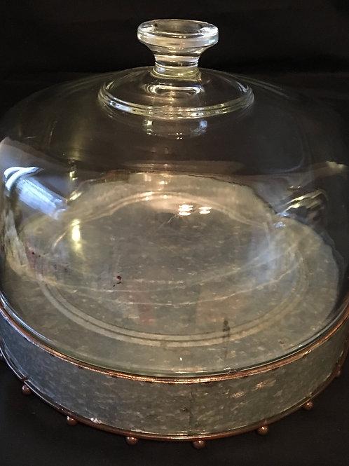 Galvanized Rustic Cake Plate w/Dome