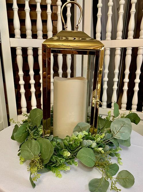 """Gold Lantern w/9""""LED Candle"""