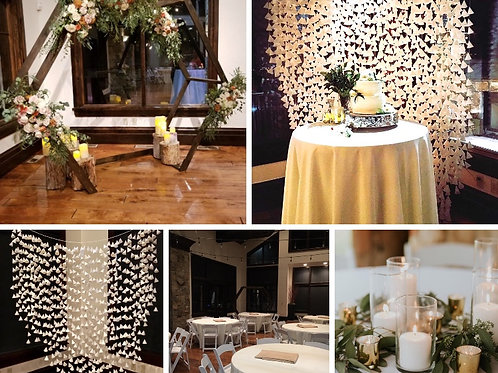 Hexagon Arch Cascading Cream & White Paper Backdrop