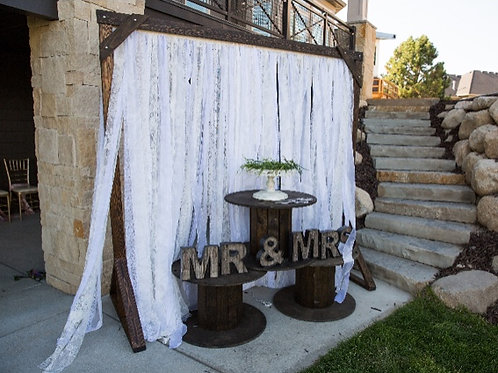 Shabby Chic Lace Fairy Light Timber Arch