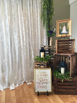 Lace Backdrop/Crates/Entry Decor