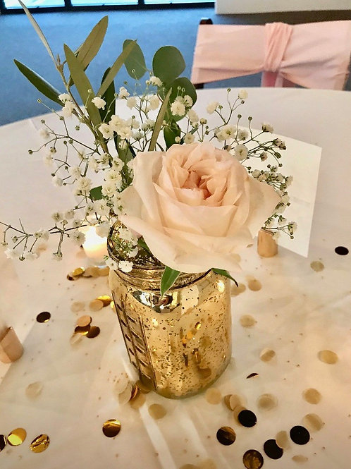 Centerpiece #32 Gold Mercury Glass Pint Jars
