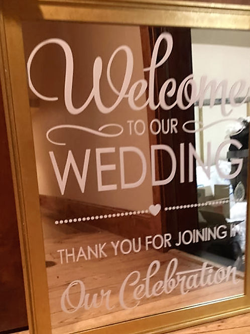 """Welcome To Our Wedding"" Gold Mirror"
