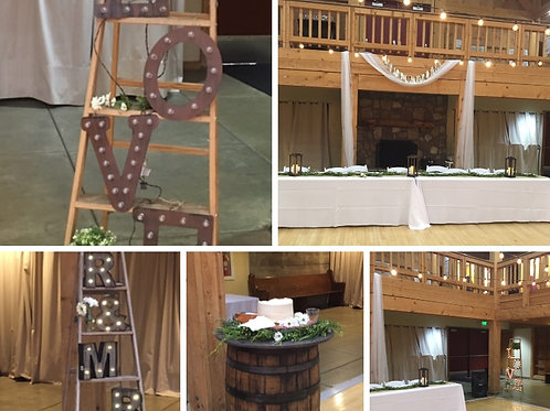 Ladders/Cake Barrel Table/Table Greenery/Lanterns