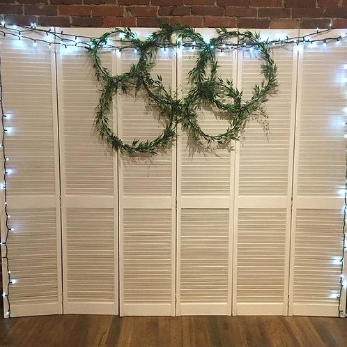 Set of 3 White Shutters w/ Greenery Hoops