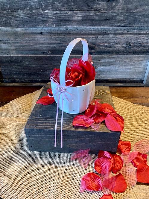 Flower Girl Jeweled White Baskets