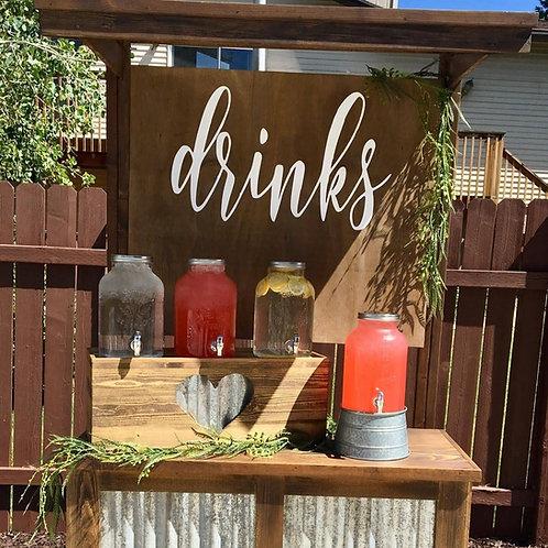Rustic Galvanized Metal Lemonade Station w/4 Beverage Dispensers