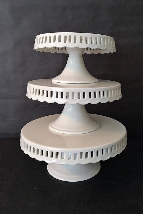 Ribbon White Cake Stand Set of 3