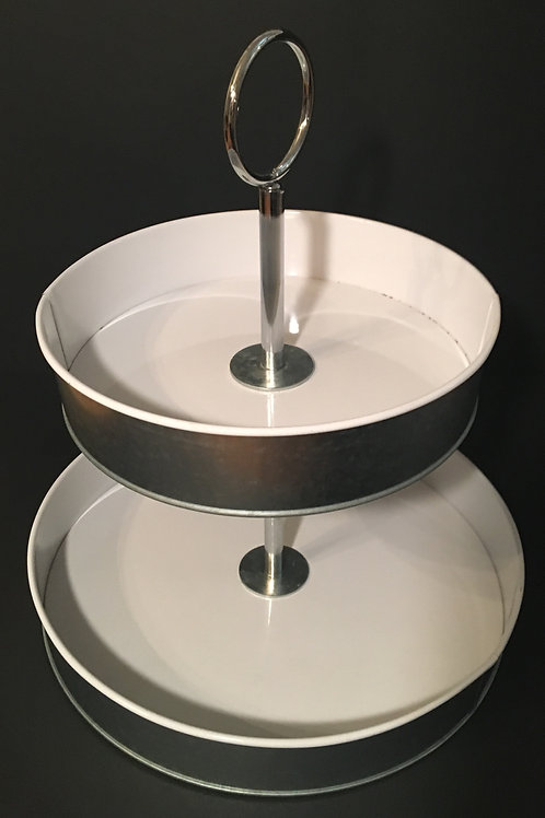 2 Tier Galvanized Serving Tray