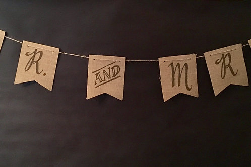 Mr & Mrs Burlap Banner